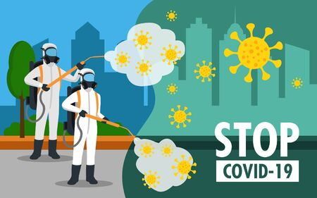 specialist in hazmat suit cleaning disinfecting coronavirus in the streets health risk full length horizontal vector illustration