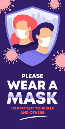 please wear a face mask instruction Poster. vector illustration.