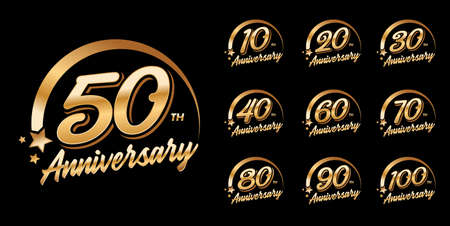 set of anniversary logo with golden color for celebration event