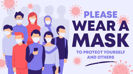People wearing face mask to protect from coronavirus, poster/banner design illustration.