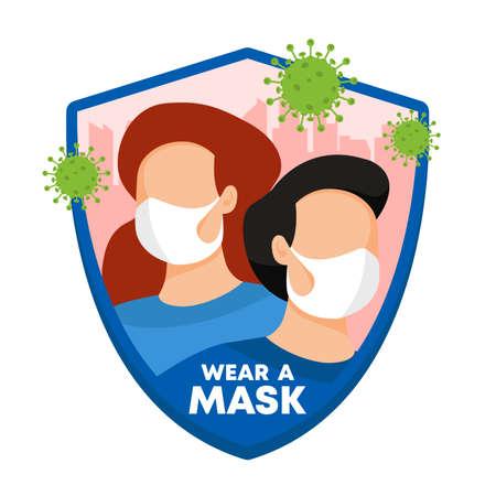 Coronavirus shield sign, shielding Covid-19, wear mask to protect from coronavirus.