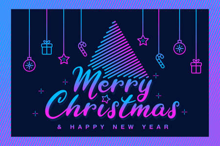 Merry Christmas & Happy New Year Fancy Card. Christmas Greeting Illustrations
