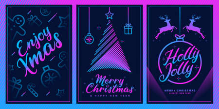 Merry christmas Fancy template set with xmas elements in futuristic color style. Ideal for greeting card, poster or web design. Vectores