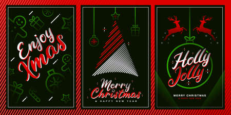 Merry christmas template set with xmas elements in gradient color style. Ideal for greeting card, poster or web design.