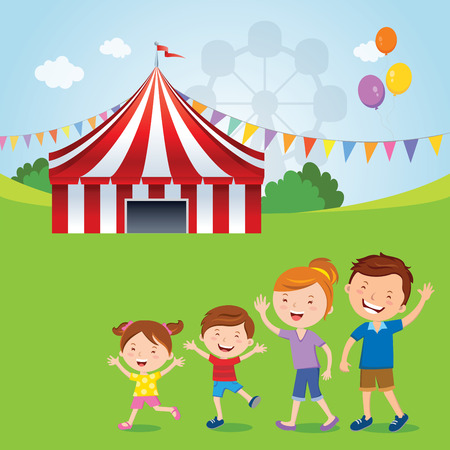 Family going to the circus; Vector illustration of happy family going to the circus tent