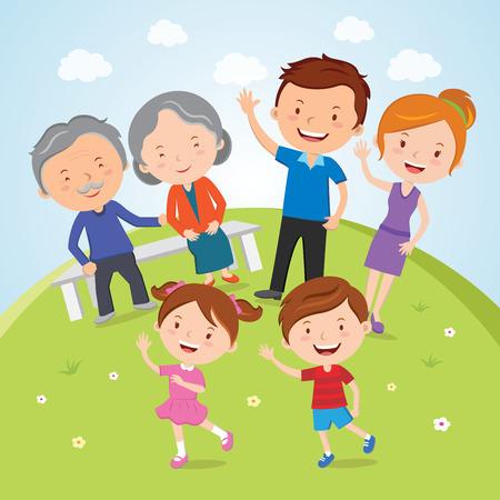Familia; Un retrato de familia feliz de los padres, los abuelos y los niños están teniendo las actividades al aire libre