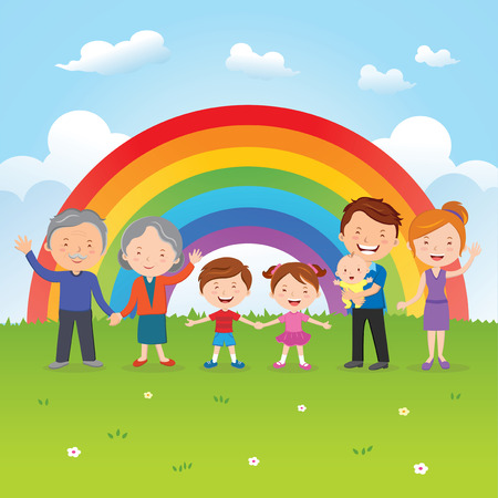 Happy family under the rainbow 向量圖像