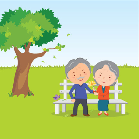 man outdoors: Elderly couple and healthy lifestyle