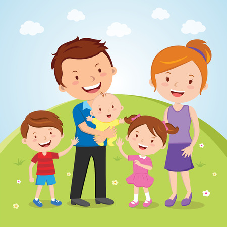 Family outdoor portrait, Outdoor portrait of a happy young family  Illustration
