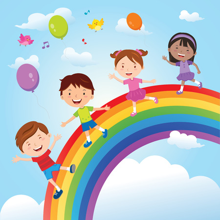 Diverse children on the rainbow; Vector illustration of group of happy children having fun on the rainbow   イラスト・ベクター素材