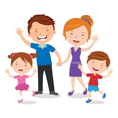 gesturing: Family portrait; Happy family gesturing with cheerful smile   Stock Vector Illustration