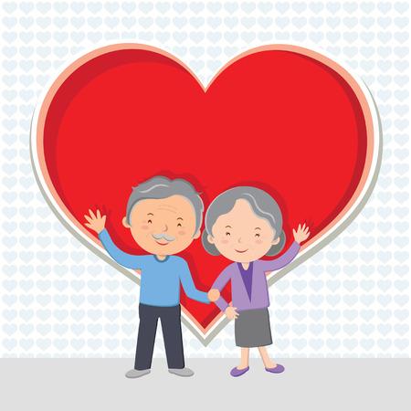 Elderly couple Love; Cheerful senior couple gesturing with red heart  Иллюстрация