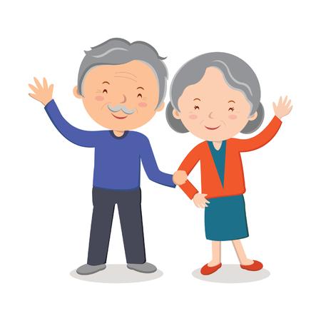 Elderly couple portrait; Happy senior couple gesturing