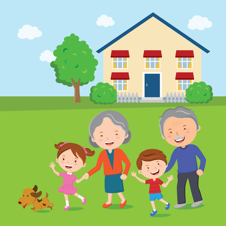 Happy family; Family and home  Vector illustration of a cheerful family standing in front of their house  Vector
