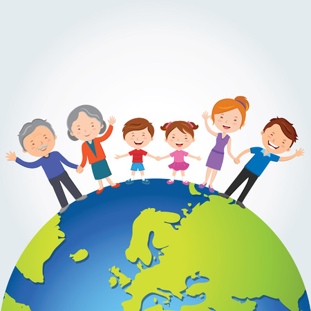 Global family; Happy family standing on the top of the world   Stock Vector Illustration