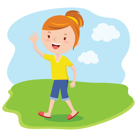 Happy woman waving