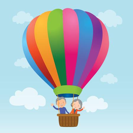 Elderly couple hot air balloon ride Vector
