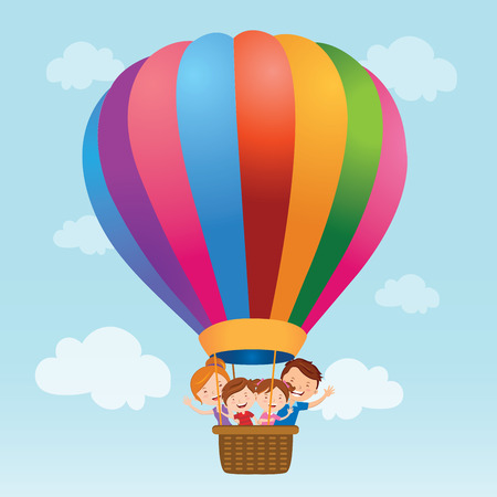 child looking up: Family hot air balloon ride Illustration