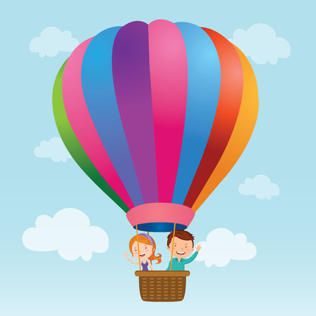 Young couple hot air balloon ride