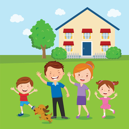 family vacations: Happy family. Family and home. Vector illustration of a cheerful family standing in front of their house.