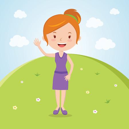 waving hand: Happy woman waving. Happy day!