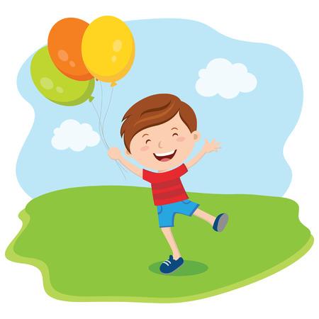 Kleine jongen met ballonnen. Vector illustratie.