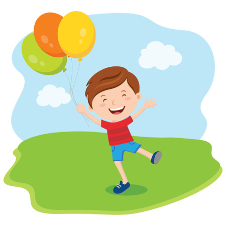one boy: Little boy with balloons. Vector illustration.