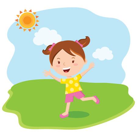 Little girl fun in the sun. Vector illustration. Иллюстрация