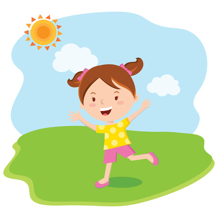 cartoon school girl: Little girl fun in the sun. Vector illustration. Illustration
