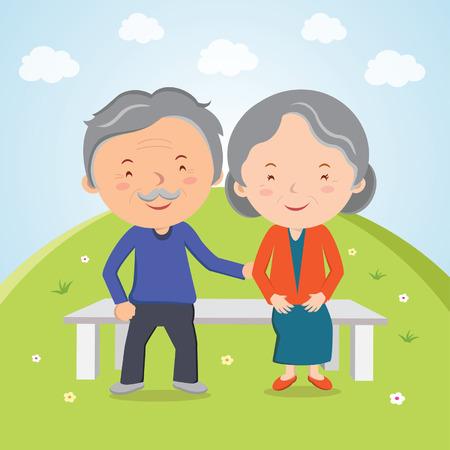 사랑스러운 노인 부부. 조부모. 일러스트