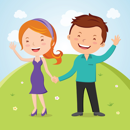 outdoor wedding: Lovely young couple waving hand. Vector illustration of lovely young couple waving hands. Happy day! Illustration
