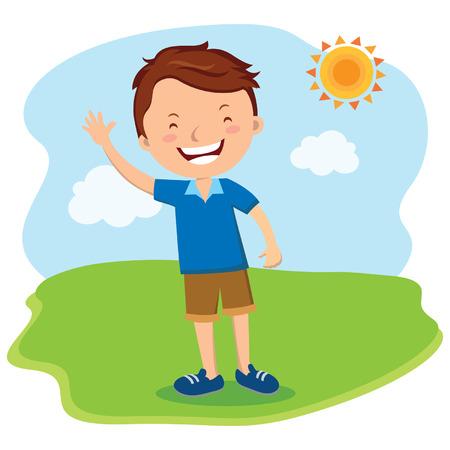 Man waving and smiling. Vector illustration. Vector