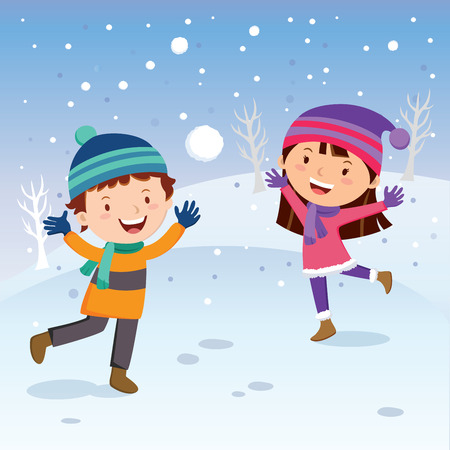 Winter fun. Cheerful kids throwing snowballs. Snow fight. Vector