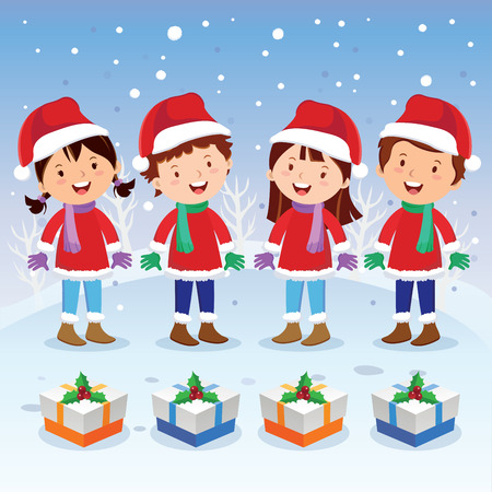 cartoon little girl: Winter fun. Christmas carols. Children choir.