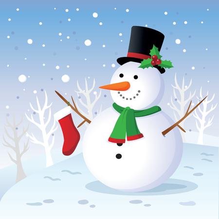 winter fun: Winterpret. Vrolijke sneeuwman.