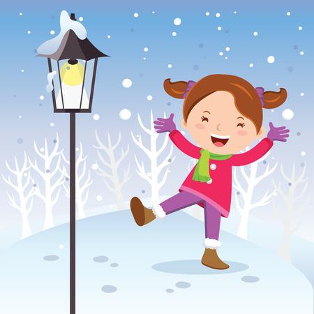 joyous: Winter fun. Girl with lamp post. Cheerful girl playing in snow.