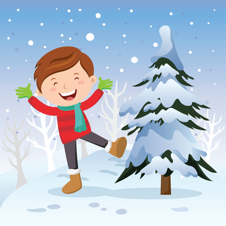 winter fun: Winter fun. Boy with Christmas tree. Cheerful boy playing in snow.