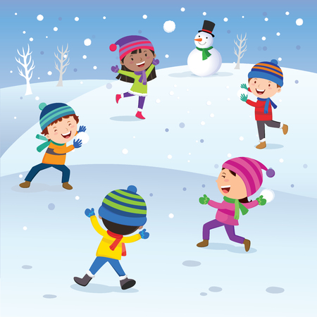 Winter fun. Children playing snowball happily. Snow ball  fight.