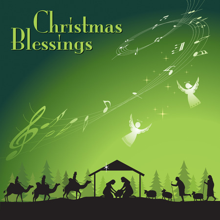 christmas angels: Christmas Blessing. Vector illustration the traditional Christian Christmas Nativity scene.