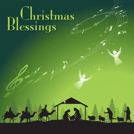 Kerstmis Blessing. Vector illustratie van de traditionele christelijke Kerstmis kerststal.