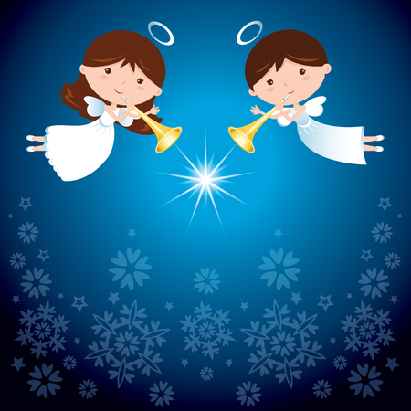 christmas angels: Angels at Christmas. Christmas angels with trumpet with sparkles design elements.