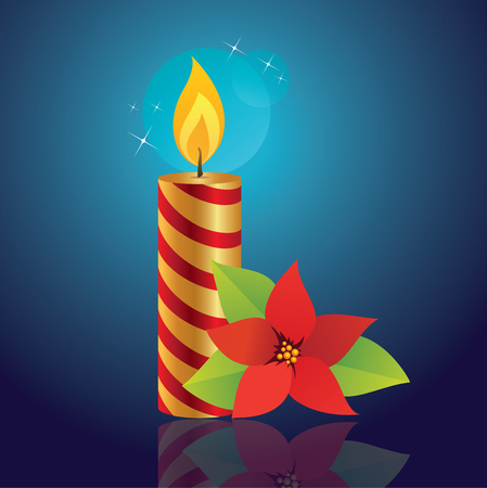 christmas flower: Christmas candles with Christmas flower. Illustration