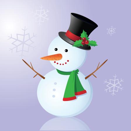joyous: Smiling snowman. illustration of a snowman on snowflakes background.