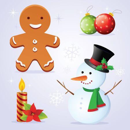 snow man party: Christmas elements. illustration of Christmas corrections. Illustration