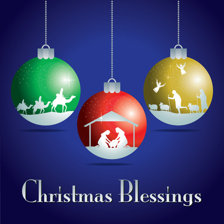 Barevné vánoční koule. Vánoční příběh. ilustrace Tradiční křesťanský vánoční betlém.