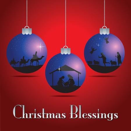 Christmas balls. Christmas story. illustration the traditional Christian Christmas Nativity scene. Иллюстрация