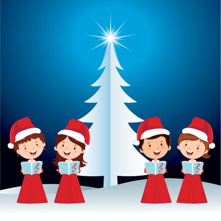 Children Christmas performance. Happy children singing Christmas carols. Иллюстрация