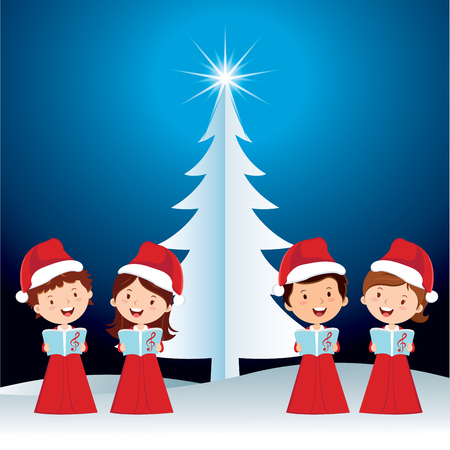 choir: Children Christmas performance. Happy children singing Christmas carols. Illustration