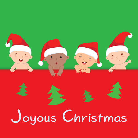 multiracial: Christmas babies with banner. Multiracial babies with Christmas banner.