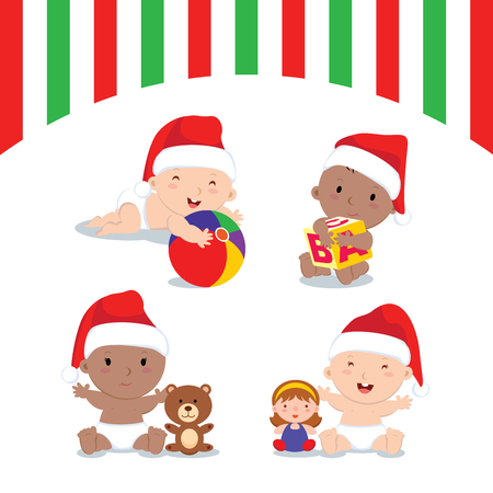 new born baby girl: Christmas babies and gifts. Cute babies with their Christmas gifts. Illustration